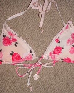 New Juicy Couture Tea Rose Triangle Bikini Swimsuit M