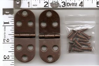 Kenmore Sewing Machine Cabinet Cover Leaf Hinges w Screws Copper Color