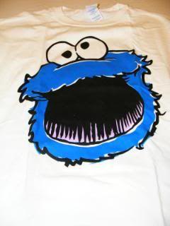 Cookie Monster Face White T Shirt Sesame Street New