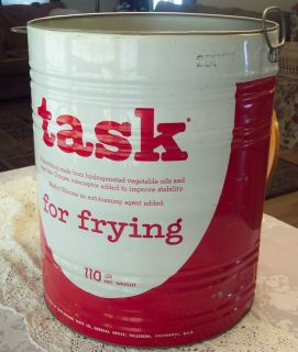 VINTAGE ANTIQUE TASK FRY cooking OIL fat RED WHITE TIN BARREL Pail Can