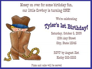 Little Cowboy Birthday Party Invitation Western Boot