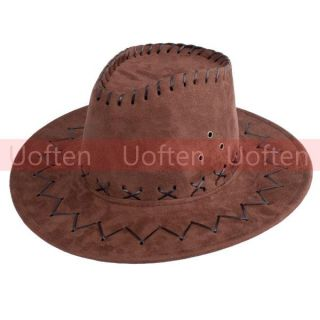 Leather Mens Womens Hats Caps Cowboy Western w Chin Strap Gift