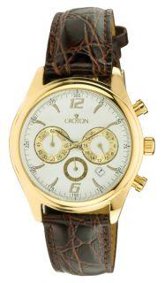 Croton CC311236BGDW Mens White Dial Leather Strap Watch