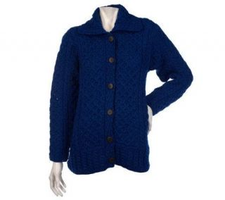 Kilronan Merino Wool Button Front Cable Knit Cardigan —