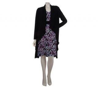 Kelly by Clinton Kelly Blurred Ikat Print Dress & Cardigan Duet