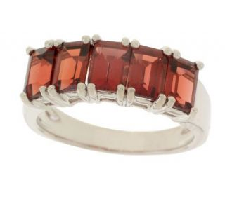 Sterling 3.05 ct tw Garnet Emerald Cut Band Ring —
