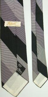 Vtg Countess Mara Skinny Thin Stripe Blk Grey Neck Tie