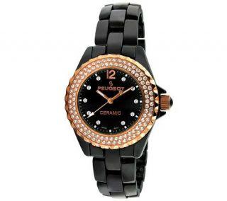 Peugeot Womens Swiss Swarovski Crystal Round Case Watch   J308586