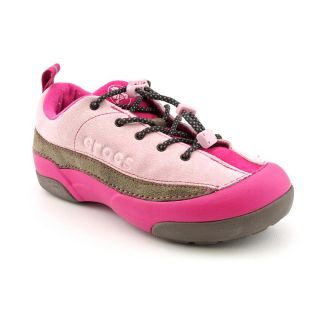 Used Crocs Dawson Youth Kids Girls Size 3 Pink Leather Sneakers Shoes