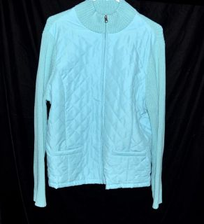 Croft & Barrow Aqua Jacket Cotton Quilted Front & Sweater Back Womans