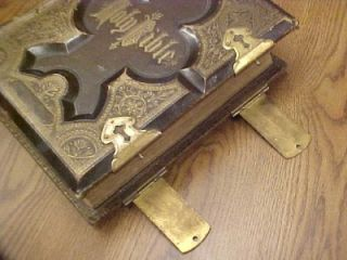 Antique Vintage 1877 Holy Bible Leather Brass Clasps Illustrated