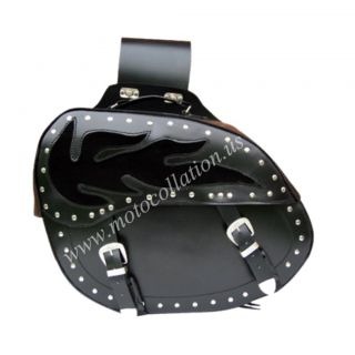 Motorcycle motorbike Cruiser Bike Leather Saddle Bags