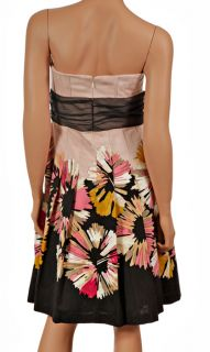 New $370 Kay Unger Womens Strapless Floral Cocktail Dress Sz 2 XS