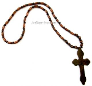 Wood Beaded Big Wooden Cross Necklace DK Brown 29 Long