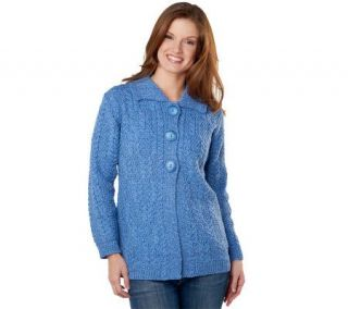 Aran Craft Merino Wool Button Front Large Collar Cardigan   A222927