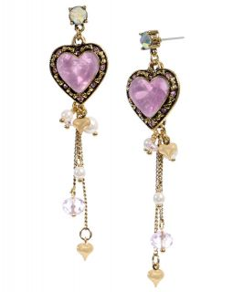 Betsey Johnson Jewelry Pink Crystal Heart Drop Earrings