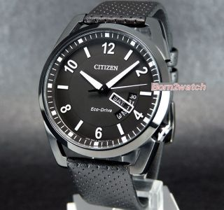 Citizen Men Eco Drive Black ion Coated Steel 100M Date Leather AW0015