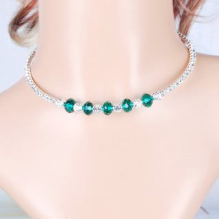 New Party Jewelry Crystal Glass Faceted Beaded Rhiensotne Choker Chain