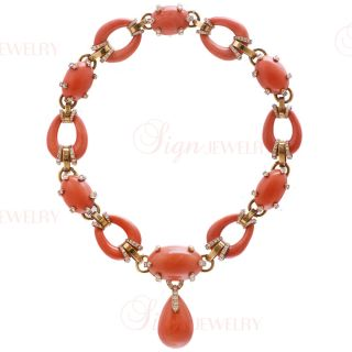 David Webb Estate 18K Gold Diamond Natural Coral Necklace
