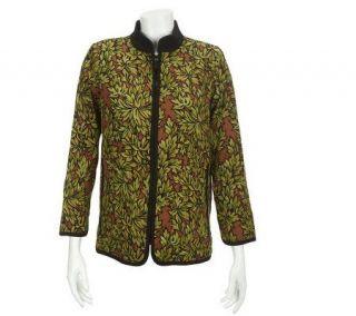 Bob Mackies Foliage Printed Zip Front Moleskin Jacket   A217896