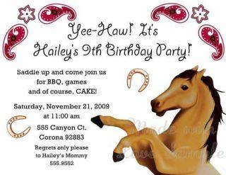 Horse Cowboy Cowgirl Birthday Party Invitations Cute Birthday