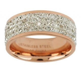 Steel By Design Silk Fit Rose Gold Crystal Band Ring   J267889