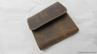 rare★ Genuine Crazy Horse Pull Up Leather Mens Bifold Coin Brown