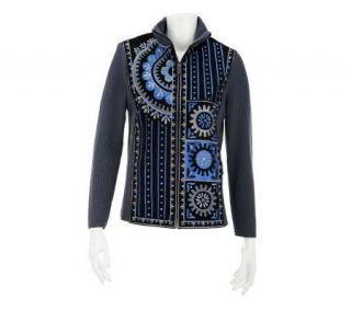 Bob Mackies Turkish Delight Embroidered Suede & Knit Jacket   A84834