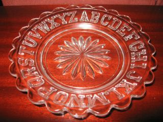 Crystal clear glass Childs ABC alphabet plate / platter tray baby