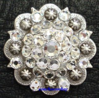 Western Saddle Rhinestone Crystal Berry Concho 1 1 4