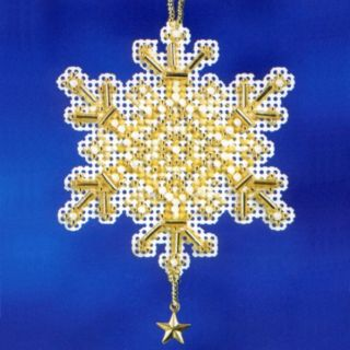 Gold Crystal Beaded Charmed Ornament Kit Mill Hill 2012 Snow Crystals
