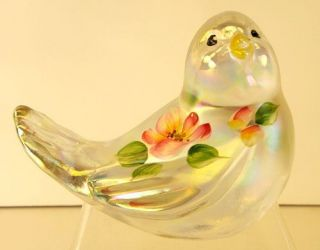 Fenton Hand Painted Songbird Figurine in French Opalescent