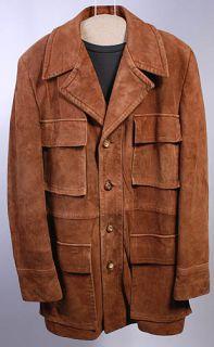 Vtg Cresco Soft Leather Hipster Spy Coat Jacket Sz 42