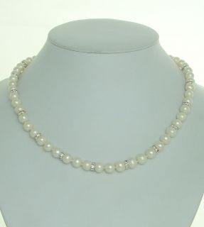 White FW Pearl & Swarovski Crystal Necklace  AAA SERVICE