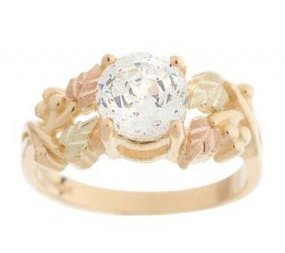 Black Hills 1.50ct100 Facet Diamonique Grape Leaf Ring 10K Gold