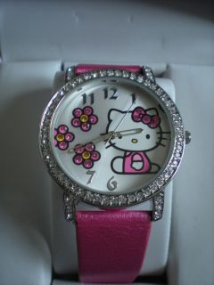 Hello Kitty Pink Leather Band Crystal Bezel Watch