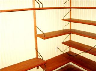 Mid Century Teak Cado Seventeen Shelf Corner Wall Unit System