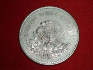 1947 Cuauhtemoc 90% Silver Aztec Ruler Cinco Pesos Mexico city Mint #