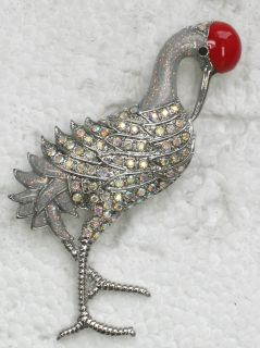 Clear AB Rhinestone Crystal Sand Hill Crane Pin Brooch H188