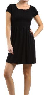 Sexy Black Long Elastic Top Mini Dress Shirt Cup Sleeve