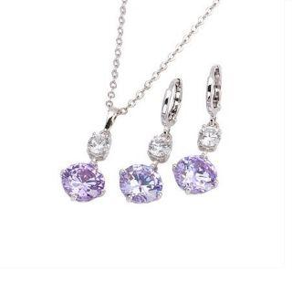 Cubic Zirconia Jewelry Set CZ Pendant Leverback Earrings Necklace