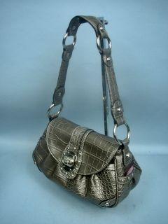 Kathy Van Zeeland Gray Croc Handbag