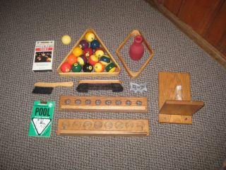 POOL TABLE BALL SET ACCESSORIES LOT cue rack chalk rack 8 9 ball rack