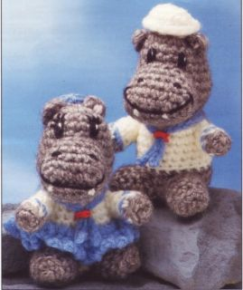 Doubly Sweet Hippo Mates Doll Toy Crochet Pattern Instructions