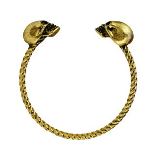 Antique Gold Plated Skull Cuff Bracelet Womens Fashion Bracelets