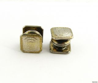 Square Snap Button Cuff Links Vintage Mens Estate Fashion 2 Toned