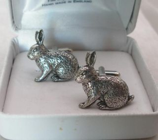 Rabbit Cufflinks in Fine English Pewter Gift Boxed AB