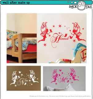 Custom Name Fairy Butterflies Stars Vinyl Sticker Wall Art Decal