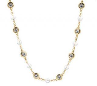 Jacqueline Kennedy Crystal Orb & Bezel Style Long Necklace   J154339