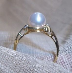 18k yellow gold cultured pearl diamond accent ring